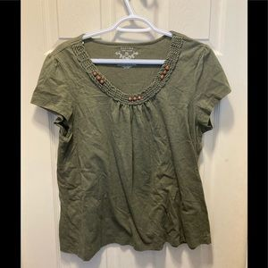 3/20 Sonoma beaded neck line tee shirt petite XL